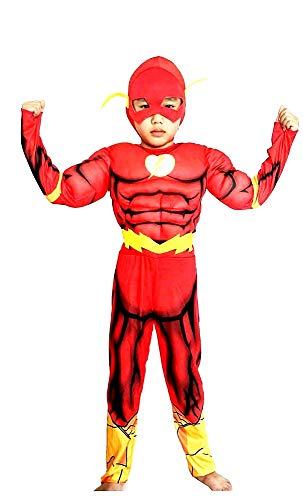 Kostuum - gespierd torso - superheld en masker - kinderen - vermomming - carnaval - halloween - accessoires - maat s - 4/5 jaar - cadeau-idee voor kerst en verjaardag flash cosplay