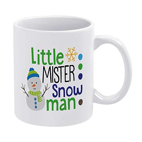 Taza de café de cerámica con diseño de muñeco de nieve de Little Mister para bebés y niños, diseño de muñeco de nieve, color blanco, 315 ml, regalo de cumpleaños de Navidad para hombres y mujeres