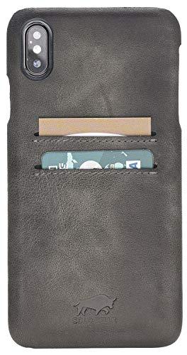 Capa de couro para iPhone XS Max da Solo Pelle/Capa traseira de couro Slimfit, iPhone XR, Stone Gray Burned