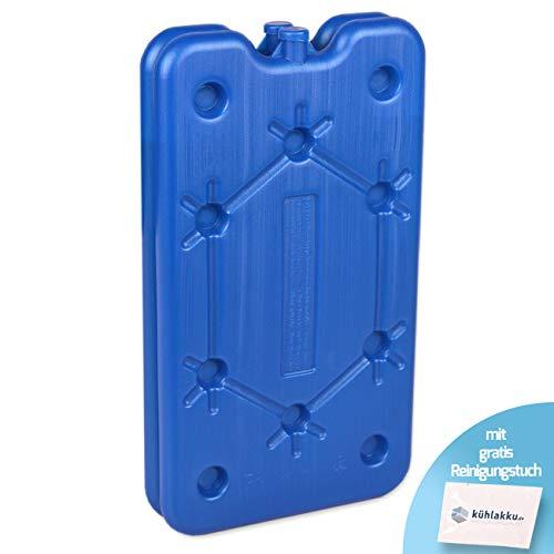 Kühlakku 2er Pack 2 x 400g Freezeboard, Flache Kühlakkus für schnelles Einfrieren, 12h Kühlleistung für Kühlboxen und Kühltaschen, blau mit gratis Kühlakku Reinigungstuch