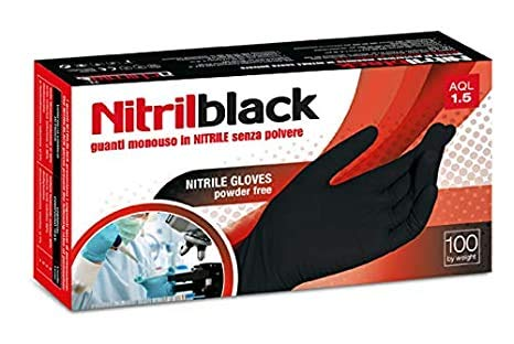 Negro Guantes de nitrilo Caja de 100(Tamaño Grande)