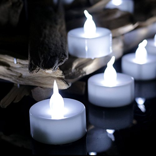 Youngerbaby Cool White Flickering Timing LED Tea Light, Flameless Battery-Operated Candles Lights (6 Hrs on 18 Hrs Off) for Wedding Outdoor and Indoor Party Decoration