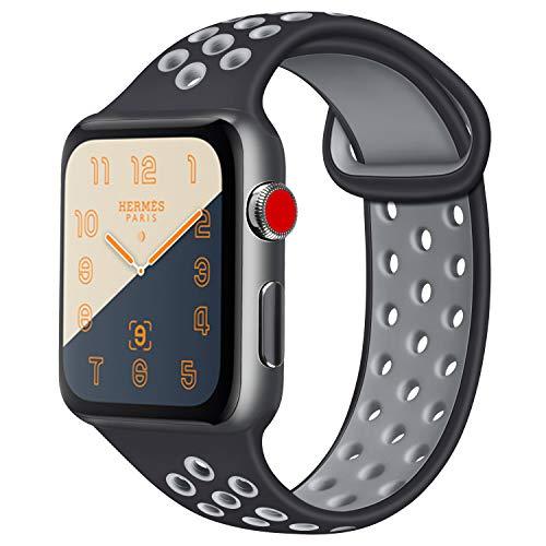 ATUP コンパチブル Apple Watch バンド 42mm 38mm 44mm 40mm、ソフトシリコン交換用リストバンド iWatch Series4/3/2/1に対応、iWatchは含まれていません (42/44 M/L, 05 黒/グレー)