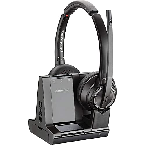 Plantronics SAVI 8200 Series W8220-M Wireless DECT Headset System, Certified for Skype for Business