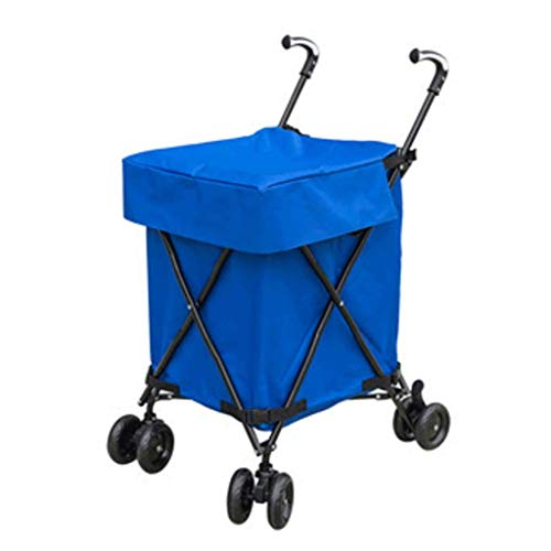 HLL Trolleys,Shopping Cart Household Folding Trolley Camping Portable Trailer with Wheels Outdoor for Travel,Blue