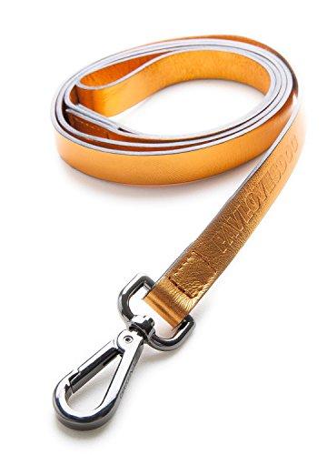 Original Lanyards® FOIL Leash Laisse en cuir véritable pour chien Orange 120 cm x 1,5 cm