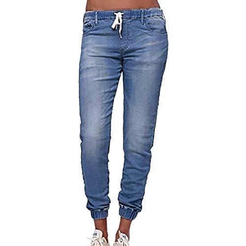 WUAI-Women Pull On Distressed Denim Pants Elastic Waist Stretch Drawstring Joggers Sweatpants Jeans Plus Size (Light Blue,XX-Large)