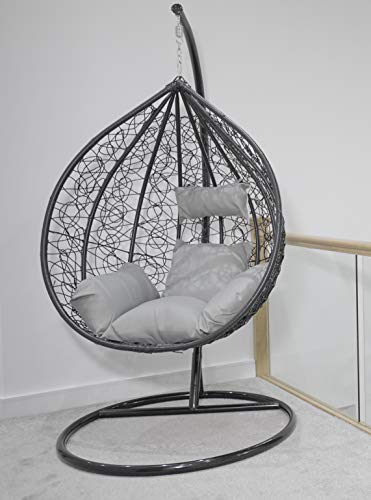 Premium Large Rattan Swing Hanging Egg Chair Indoor/Outdoor with Cushions- Black