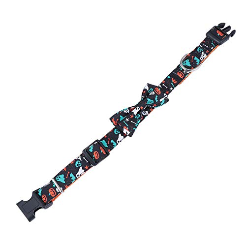 Balacoo Halloween Hundehalsband Verstellbare Bogenknoten Hundehalsbänder Kürbis Geist Halskette mit Fliege Halloween Haustier Kostüme Liefert M