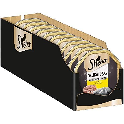Sheba Delikatesse in Gelee – Hochwertiges Katzen Nassfutter – Geschnetzeltes mit Huhn – In der praktischen Schale – 22 x 85g Alleinfuttermittel