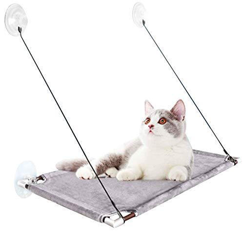 Percha para ventana de hamaca para gatos - Cama hamaca para gatos grandes de interior, estantes para asientos de descanso para ventana de hamaca para gatos con perilla resistente Asas de ventosa