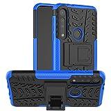 HAOYE Handyhülle für Motorola Moto One Macro Hülle, Rugged TPU/PC Hybrid Armor Schutzhülle. Anti-Scratch PC Rückwand Schale + Stoßfeste TPU Innenschutzabdeckung + Faltbarer Halterungen. Blau