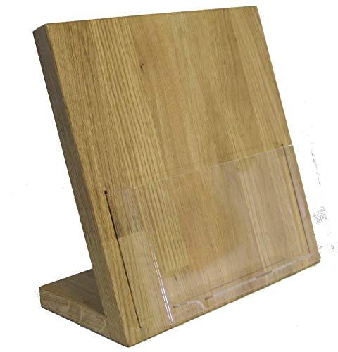 LINLAY Intarsien & Gravuren 22 x 22 cm Tisch Flyerhalter Holz Eiche Prospektständer Flyerständer Prospekthalter