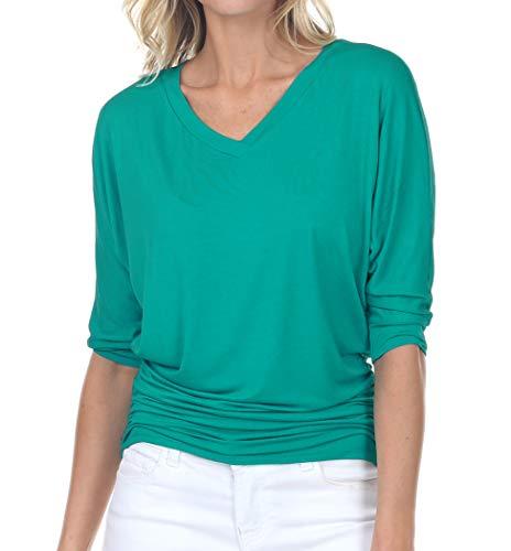 Iiliad USA - Cuello en V para mujer, manga 3/4 Dolman, costado, camisa básica y talla grande,...