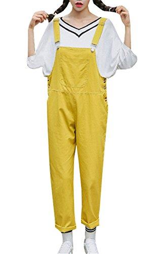 COCO clothing Frühjahr Herbst Cargohose Damen Latzhose Locker Freizeithosen Frauen Relaxed Bib Pants Overall Harem Hose (M, gelb)