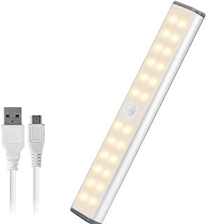 AlfaView Luz Armario con Sensor de Movimiento 24 LED USB Recargable Barra de Luz Làmpara con Tiras Magnéticas para Armari...