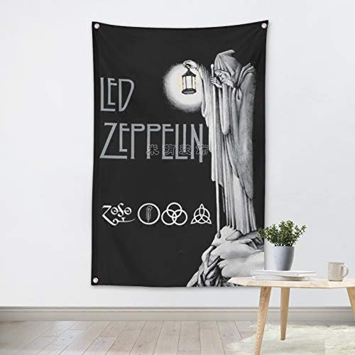 Rock and Roll Band Heavy Metal Music Poster Club Studios Home Decor Wall Art 96x144 cm (38X57 inches) Hanging Flag Banner Tapestry Cloth Printing LED Zeppelin