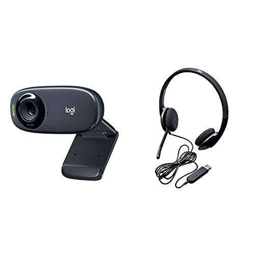 Logitech c310 webcam hd, hd 720p/30fps, videochiamate hd widescreen, correzione luce hd & h340 cuffie cablate per computer, stereo con microfono e audio digitale, ecancellazione rumore