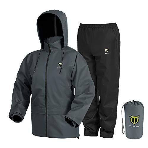 TideWe Rain Suit, Waterproof Breathable Lightweight Rainwear (Gray Size L)