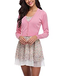 This wedding cardigan shrug adds a elegant looks to you in any occasion.The bolero jacket features solid color, open front cropped cardigan,beautiful cut and elegant design great to shows your shape.The bolero shrugs suitable for womens, ladies, juni...