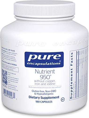 Pure Encapsulations - Nutrient 950 Without Copper, Iron, Iodine - Hypoallergenic Multi-Vitamin/Mineral Formula for Optimal Health - 180 Capsules