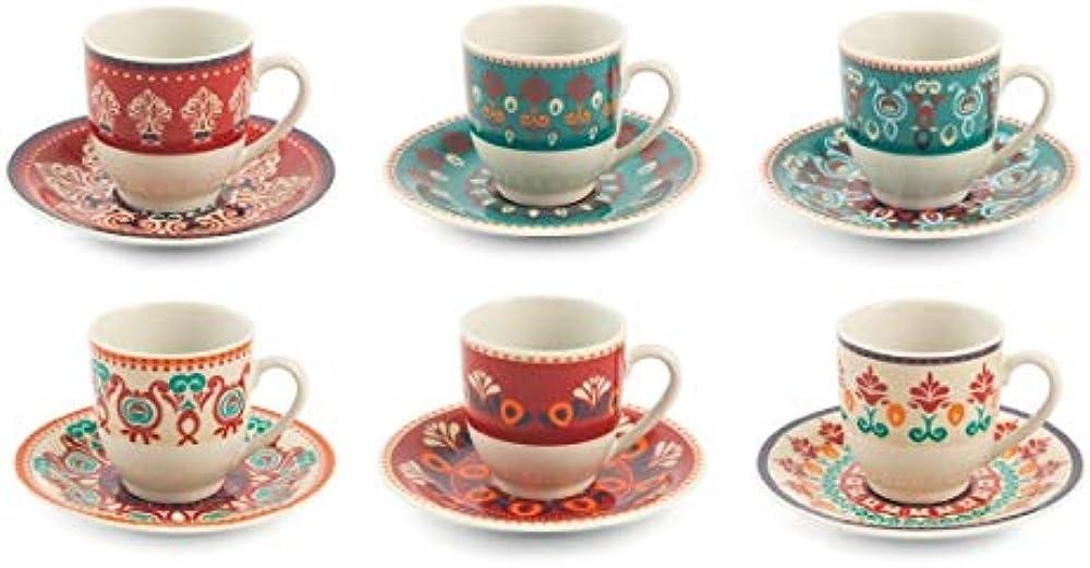Villa d'este home tivoli shiraz ,  set di 6 tazzine da caffè con piattino , in porcellana 2195371