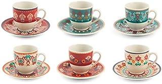 Villa D'Este Home Tivoli 2195371 Shiraz - Juego de 6 tazas de café con tapa (porcelana)