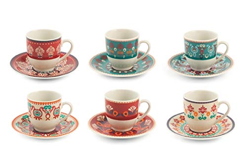 Villa D'Este Home Tivoli 2195371 Shiraz Espressotassen-Set mit 6 Tassen aus Porzellan