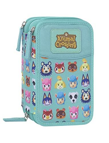 Astuccio Scuola Animal Crossing Completo Triplo 3 Zip Verde Acqua Prodotto Ufficiale
