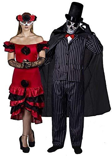ILOVEFANCYDRESS - Disfraz de pareja del Día de los muertos para adultos (talla S - XXL)