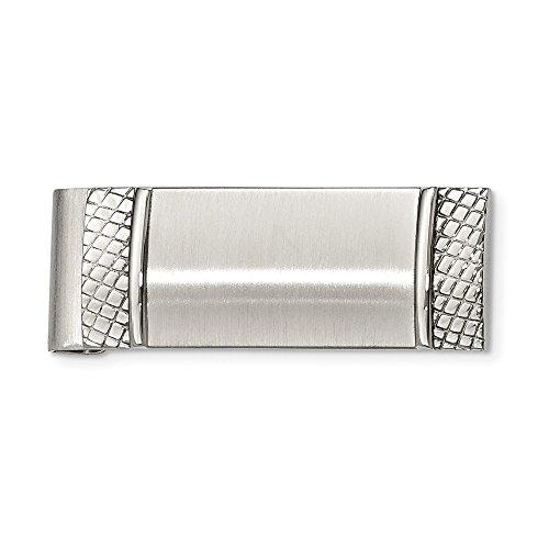 Acero inoxidable grabable cepillado y texturizado dinero clip joyería regalos para hombres