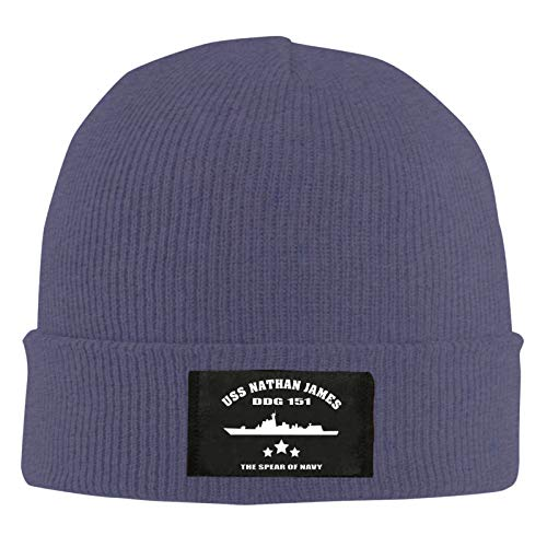 USS Nathan James Unisex Beanie Cap Winter Skull Cap Knitted Hat Outdoor Autumn and Winter Warm Navy