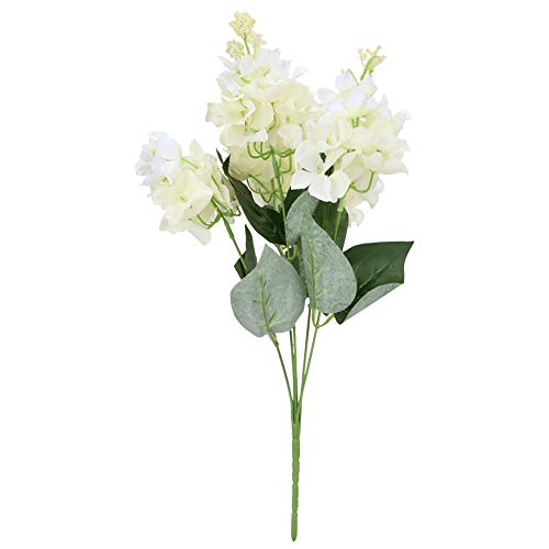 EVTSCAN 5 Heads Decorative Artificial Flower Fake Plastic Hydrangea Bouquet Garden Wedding Decor