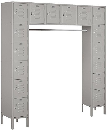 Salsbury Industries 66016GY-U Six Tier Box Style Bridge 16 Box 18-Inch Deep Unassembled Standard Metal Locker, Gray