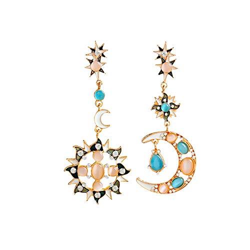 Wudi ein Paar Romantischer Mond Sonne Ohrringe ein Metall Zink-Legierung, die Sonne und der Mond Interessanter Tropfen Loop-Ohrringe für Frau