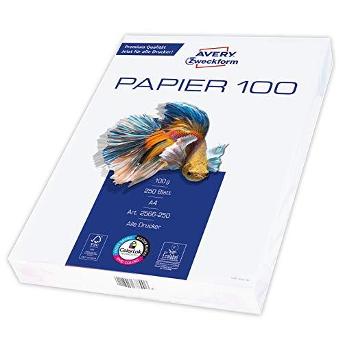 Avery Zweckform 2566 Drucker-/Kopierpapier (250 Blatt, 100 g/m², DIN A4 Papier, hochweiß, für alle Drucker) 1 Pack