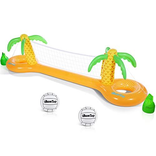 """iBaseToy Aufblasbares Pool-Volleyball-Set - Aufblasbares Volleyball-Netz und 2 Bälle enthalten - Großes aufblasbares Pool-Spiel-Set Schwimmbad-Spielzeug für Kinder und Erwachsene (118 \""""x25.6 x33.5)"""