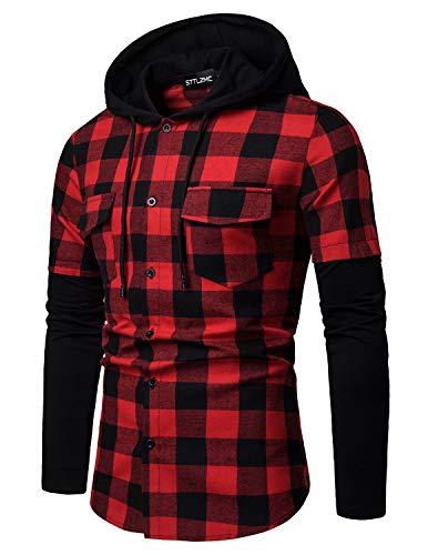 STTLZMC Hombre Sudadera con Capucha Camisa de Cuadros Cosiendo Manga Larga Botones Cordón Camisetas,Rojo,M