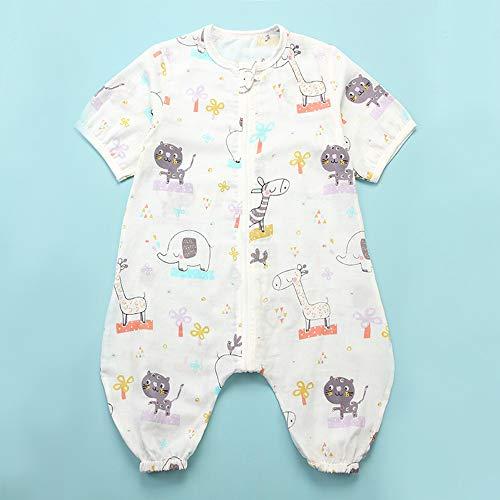 LK-HOME Saco de Dormir Bebé con Pies Verano Infantil Pijama Manta con Mangas Cortas Algodón Gasa Niños Cómodo Transpirable,Saco de Dormir de Verano para bebé