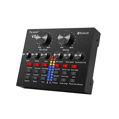 POHOVE Vivo Tarjeta de Sonido, Bluetooth Sonido Mezclador Tabla, Reducción Ruido V 8s con Múltiples Efectos, Voz Adaptador Audio para Transmisión Karaoke Canto Emisión - Negro, Free Size