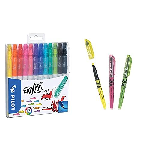 Pilot Frixion Pack de 12 rotuladores, Multicolor + Light Marcador fluorescente borrable, multicolor
