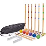 Family Croquet – Family-Sized/Travel Croquet Set with Drawstring Bag – Backyard Lawn Game for 6-Players – (6) 26' Mallets, 6 Colored Balls, 9 Wickets, & 2 Stakes – Indoor/Outdoor Yard & Party Game