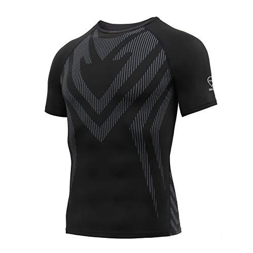 AMZSPORT Maglietta a Compressione da Uomo Manica Corta T-Shirt Running Maglia Sportiva da Ciclismo Fitness, Nero L
