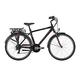 """41NG++KQf+L. SS300 Atala Bici elettrica 2019 E-Run FS 28"""" da Uomo, Misura Unica 49, 6 velocità, Colore Nero-Rosso"""
