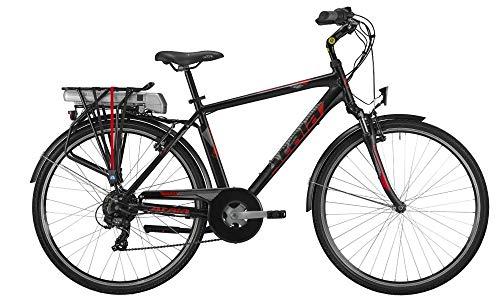 Atala Bici elettrica 2019 E-Run FS 28' da Uomo, Misura Unica 49, 6 velocità, Colore Nero-Rosso