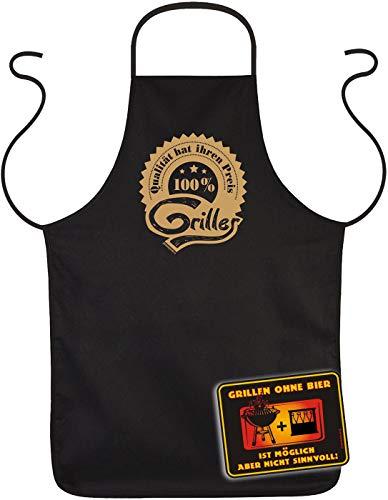 TITAGU Kombi-Set: Sprüche-Blechschild+Grill/Kochschürze: Qualität hat ihren Preis 100 Prozent Griller & Grillen ohne Bier