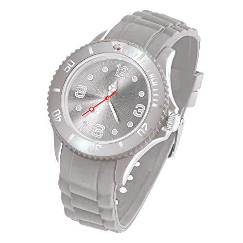 Taffstyle Deutschland Damen Uhr Analog Quarz mit Silikon-Armband Sport Farbige Sportuhr Bunte Armbanduhr Herren Kinder 39mm Grau