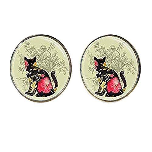 Pendientes de gato negro con estampado floral