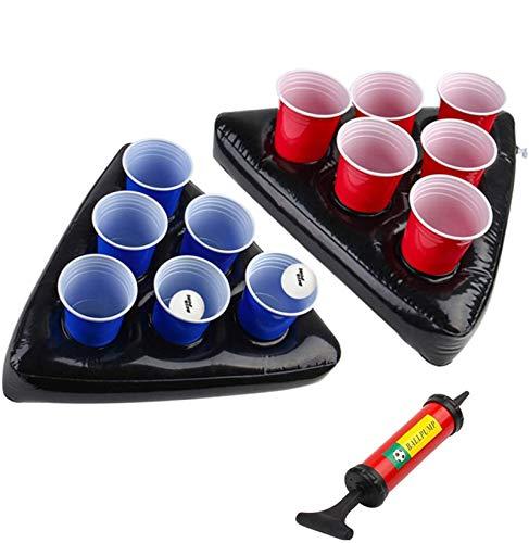 Uhomely aufblasbare Bier-Pong-Hüte, 2 Packungen schwimmende Pool-Bier-Pong-Tische mit 1 Pumpe, 2 Bällen und 12 Tassen (6 Rot, 6 Blau), Bestes Bier-Pong-Party-Set
