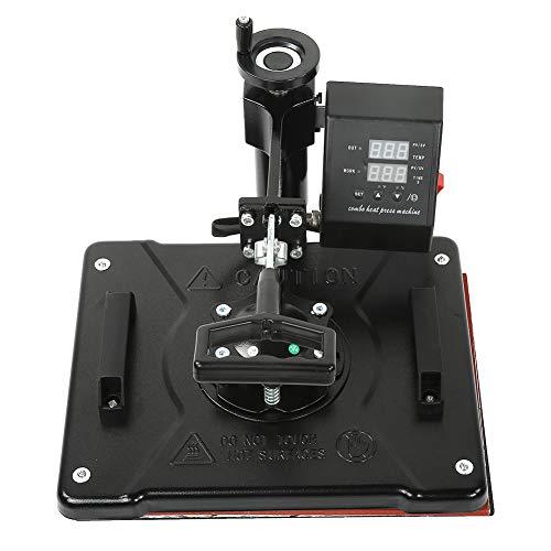 Máquina de prensa de calor 5 en 1, la impresora de prensa de calor incluye platos planos para camisetas para tazas(Estándar europeo 220V)